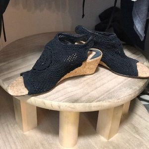 Wedged crochet sandals